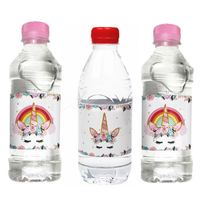 9c234b042a1 12Pcs Magic Dreamy Fantasy Unicorn Horse Water Bottle Label Candy Bar  Decoration Kids Baby Shower Birthday Party Supplies