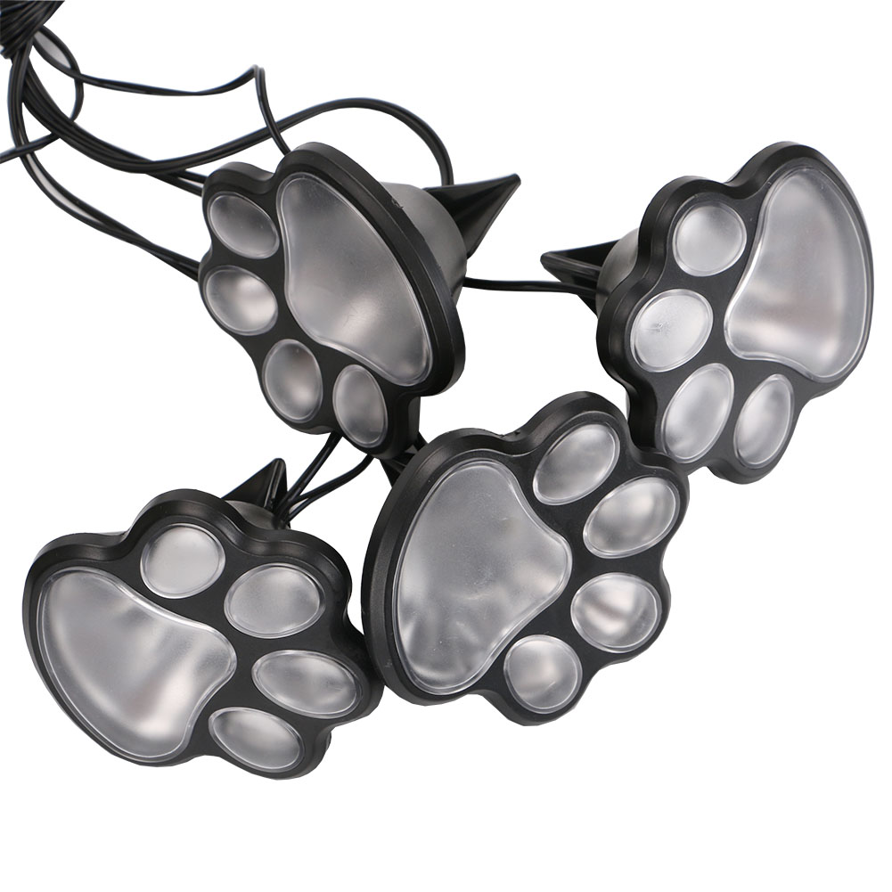 4 LED Solar Powered Animal Paw Print Lights Garden Statue Lantern LED Light Path Walkway Lawn Lamp Built-in Battery