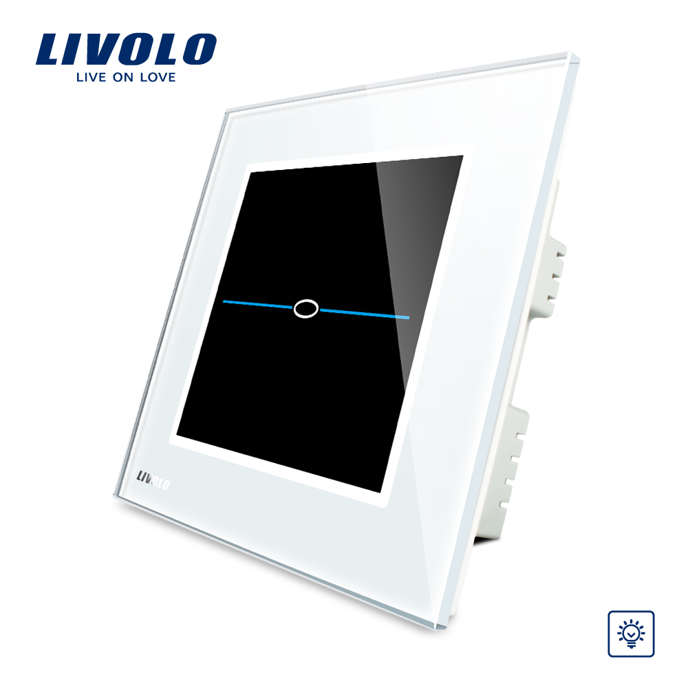 Livolo UK standard Dimmer Touch Screen Home Wall Light Switch,AC 220~250V, White Crystal Glass Panel,VL-C301D-31 eu plug 1gang1way touch screen led dimmer light wall lamp switch not support livolo broadlink geeklink glass panel luxury switch
