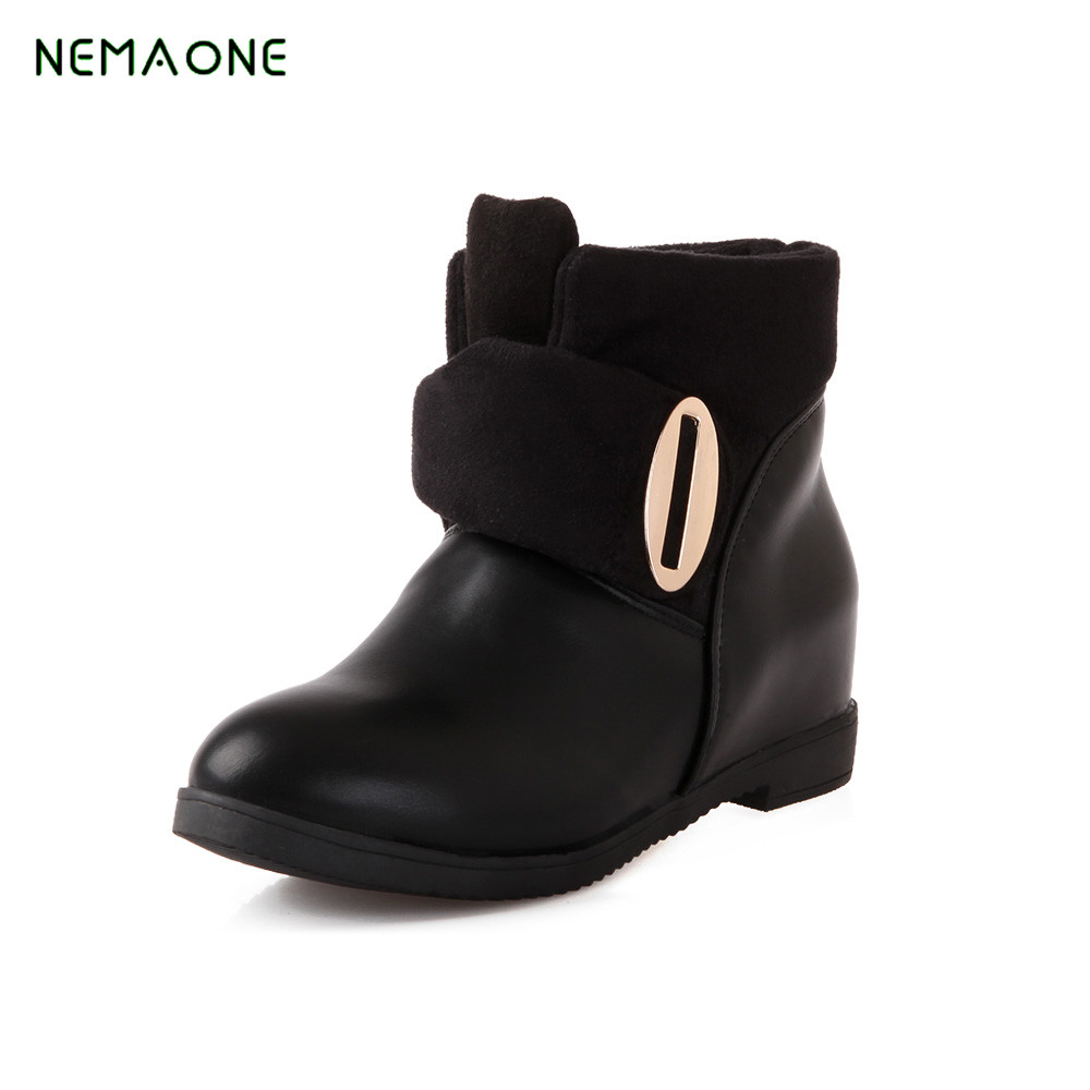NEMAONE NEW Fashion Winter Women Ankle Boots Warm Short Plush Inside Rubber Sole Non-slip Women's Shoes Plus Size 43 whensinger 2017 new women fashion boots genuine leather fashion shoes rubber sole hands sewing 2 color 7126