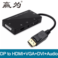 DisplayPort DP זכר ל-dvi HDMI VGA יציאת תצוגת מתאם אודיו נקבה כבל ממיר למחשב HDTV וידאו ואודיו 4 ב 1 DP רכזת
