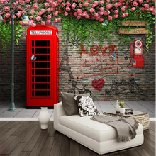 wellyu Custom wallpaper 3d large murals London telephone booth rose background