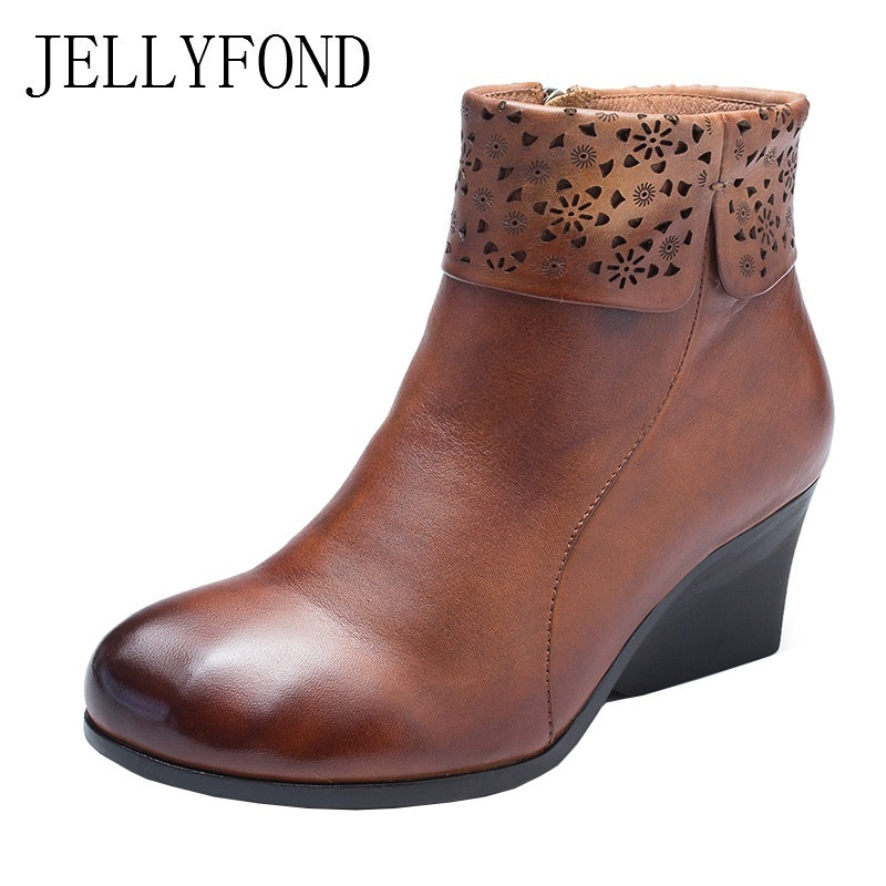 цена на JELLYFOND Retro 2018 Genuine Leather Platform High Heels Wedge Boots Handmade Autumn Shoes Woman Fold Calfskin Ankle Boots Women