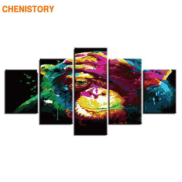 CHENISTORY Frame 5panels Animals Diy Painting By Numbers Modern Home Wall Canvas Acrylic Paint By Numbers For Home Decor Artwork