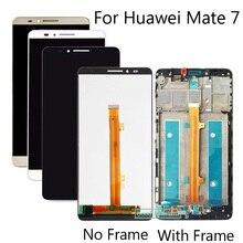Yüksek Kalite 6.0 inç Huawei Ascend Mate 7 Için Mate7 MT7 lcd ekran + dokunmatik ekranlı sayısallaştırıcı grup Çerçeve Ile Çerçeve Değiştirme