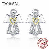Trynmera Hot Sale high quality 925 Sterling Silver Guardian Angel Exquisite Stud Earrings for Women Fashion Silver Jewelry fo