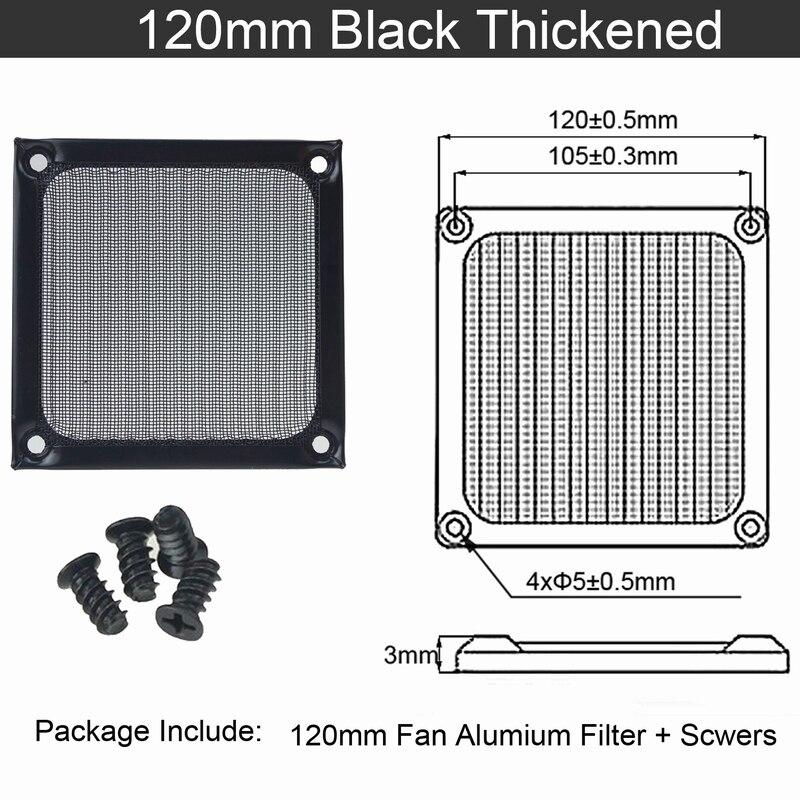2 шт. Gdstime 60 мм, 80 мм, 92 мм 120 мм 140 мм пылезащищенный вентилятор фильтр Алюминий компьютер чехол сетка вентилятора Пылезащитный чехол 14 см на высоком каблуке 12 см, 9 см, 8 см, 6 м - Цвет лезвия: 12cm thickened Black