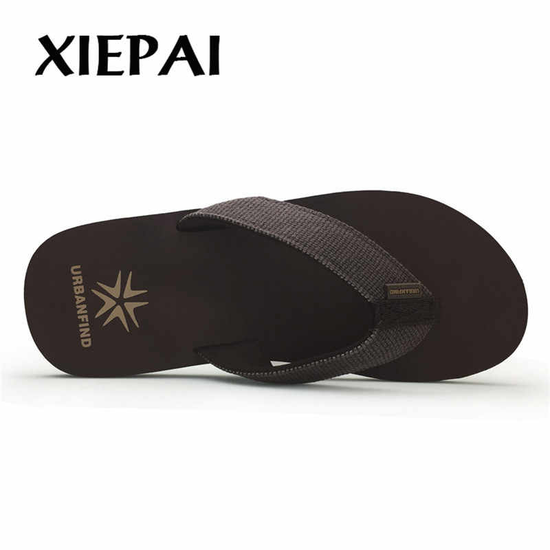 2019 Casual Men Slippers Flip Flops Size 41 46 Summer Shoes Home Beach Footwear 2 Colors Black Brown