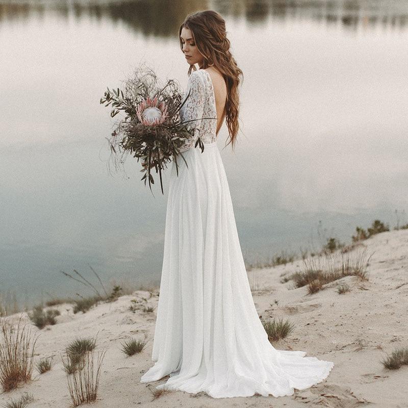 2019 A-Line Wedding Dress Beach Wedding Dress Long Sleeve Boho V Neck Open Back Bridal Dresses Chiffon Princess Lace