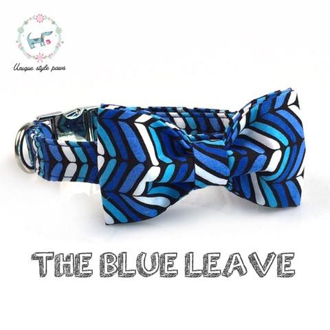 Padrão de Onda Conjunto com Bowtie Coleira e Trela do Cão Macio e Tecido de Algodão Fivela de Metal Cão e do e do Gato Azul Xadrez Ajustável