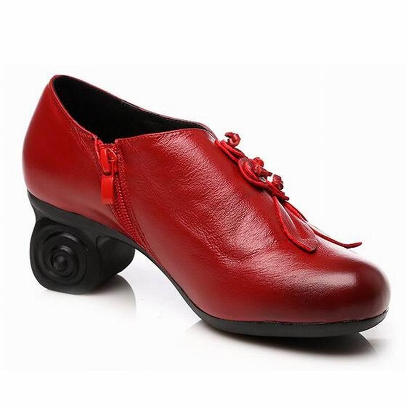 Mujer Suave A Mujeres Alto Zapatos Mano Hecho Oficina Para Cuero Otoño rojo Ceyaneao2019 Las Shoese1476 Flor Tacón Negro De Genuino w1Pnv6WqA