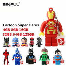 Cartoon Batman Superman Pen Drive 64GB 32GB USB Flash 16GB 8GB 4GB PenDrive Super Heros flash memory stick gift u disk