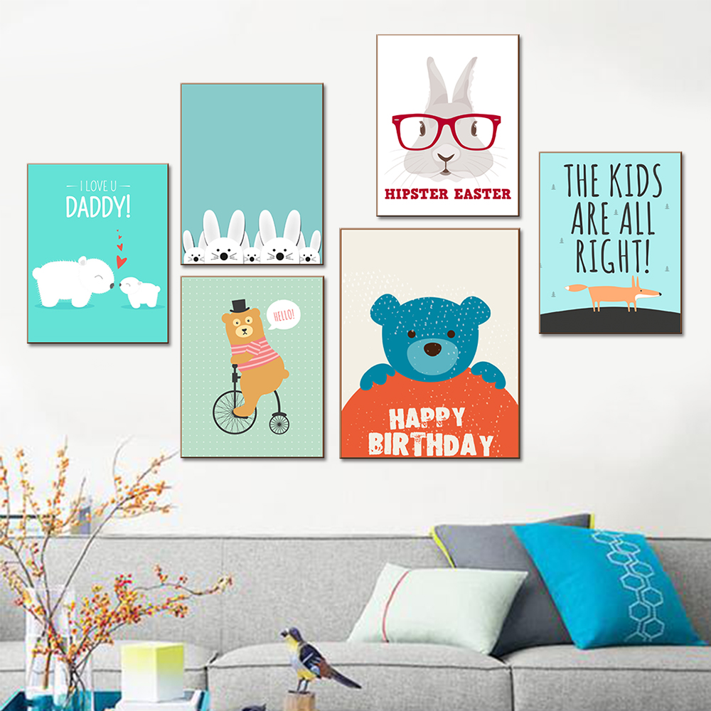 No frame 1 piece coloring cartoon canvas wall art pictures for kids room modern modular oil - Modern kids wall decor ...