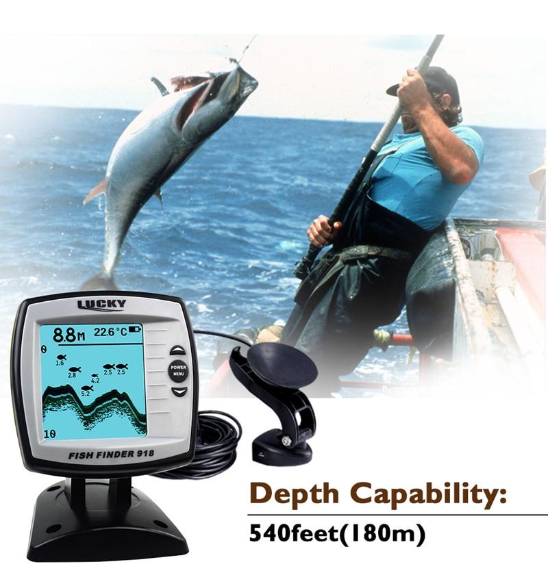 FF918-180S Fish Finder Wired Transducer Sensor Fishfinder 45 Degrees Echo LCD Fish Locator Boat EnglishRussian Menu Pesca Probe (8)