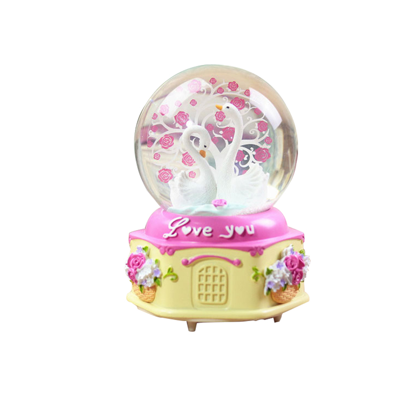 Resin Glass Swan Model Crystal Ball Music Box Figurine Miniature for Kids Toy Special Birthday Gift Home Decor Accessories Craft