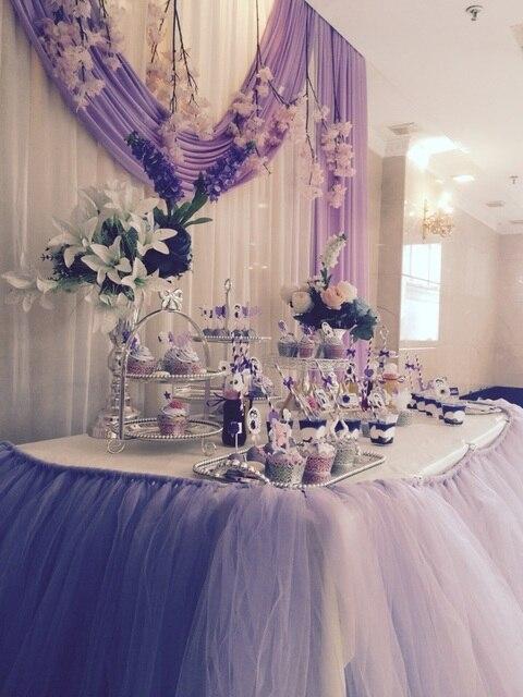 Wedding Birthday Party Baptism DIY Tutu Fluffy Gauze Yarn Banquet Table Skirt Cake Cloth Tabeskirt