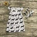 2016 бесплатная доставка летний новый новорожденных девочек бутик черный белый карманный олень платье с соответствующими ожерелье и heaband
