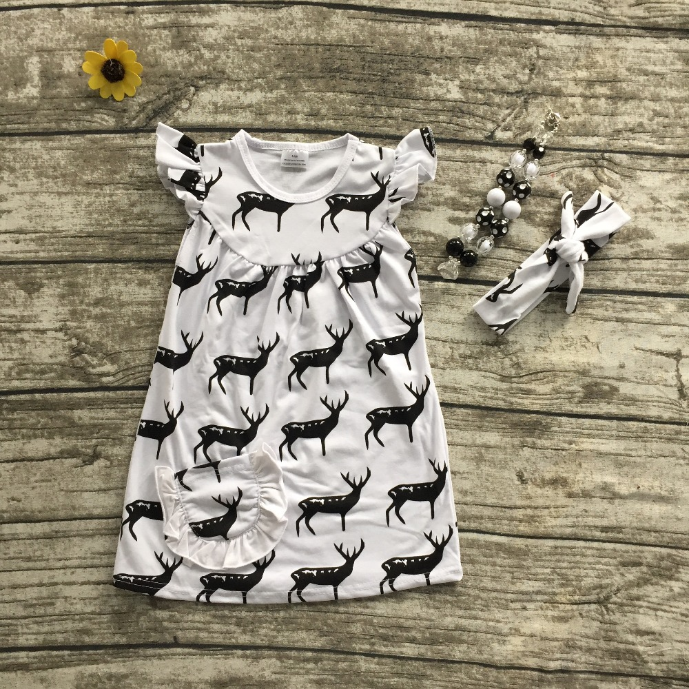 2016 free shipping summer new baby girls boutique  black white pocket deer dress with matching necklace and heaband free shipping 1pc retail 2016 spring girls fashion white with black star leggings
