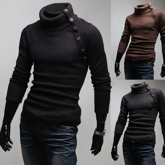 2014 New Spring Brand Oblique Button Solid Color Turtleneck Slim fit Knitted Mens Sweaters Casual Cardigan Man Clothing M-XXL