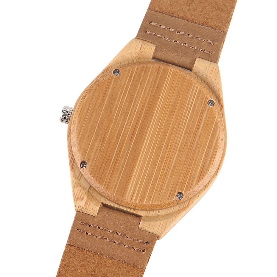 Natural Mens Wooden Wrist Watch Casual Dress Style Engraved Fish Handicraft Dial Light Bamboo Wood Relogio Gifts Genuine Leather 2017 (5)