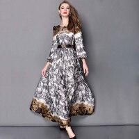 High End 2015 European Fashion Brand Style Ladies Elegant Long Sleeve Floor Length Vintage Print Maxi