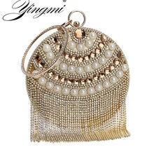 YINGMI Tassel Beaded Women Evening Bag Round Party Pearl Lady Day Clutch Purse  Bag Chain Shouder Rhinestones Handbags все цены