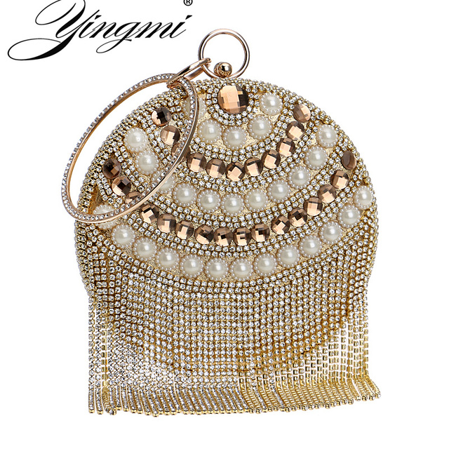 YINGMI Tassel Beaded Women Evening Bag Round Party Pearl Lady Day Clutch  Purse Bag Chain Shouder