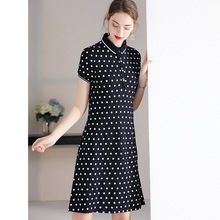 Dress Summer Polka Dot 2019 Women's New Turn Down Collar Short Sleeves A-Line Casual Dress Knee Length Free Shipping S-XL dress summer woman 2019 new turn down collar batwing sleeves solid color slim drawstring waist a line casual dress midi s xl