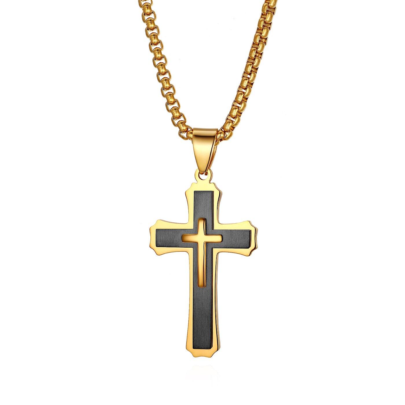 BONISKISS Crucifixo Páscoa Cruz Colar Dos Homens de Prata de Aço Inoxidável Único Macho Metal Suspensão Pingente Cadeia Gargantilha Colar