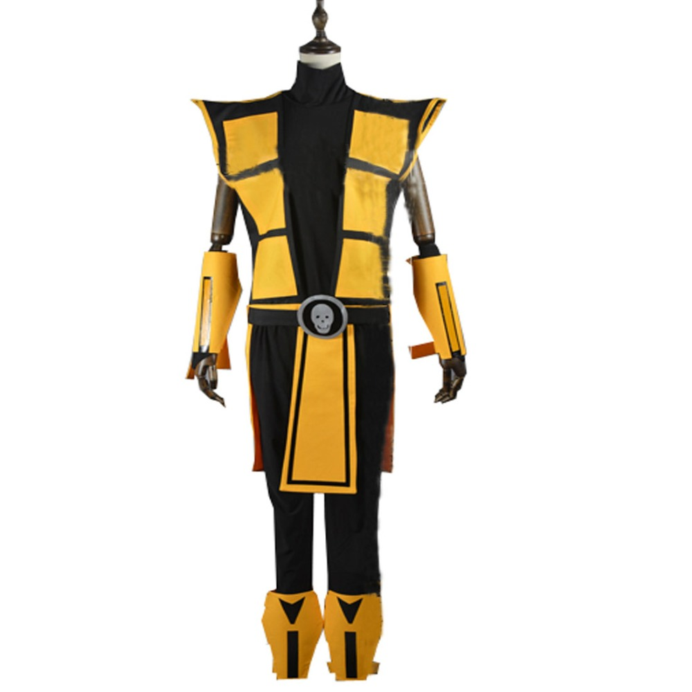 2018 Scorpion Mortal Kombat 3 Yellow Outfit Cosplay Costume Tailor Made