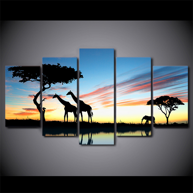 Popular 5 Pieces Canvas Prints Africa landscape Safari Painting Wall Art  NF53