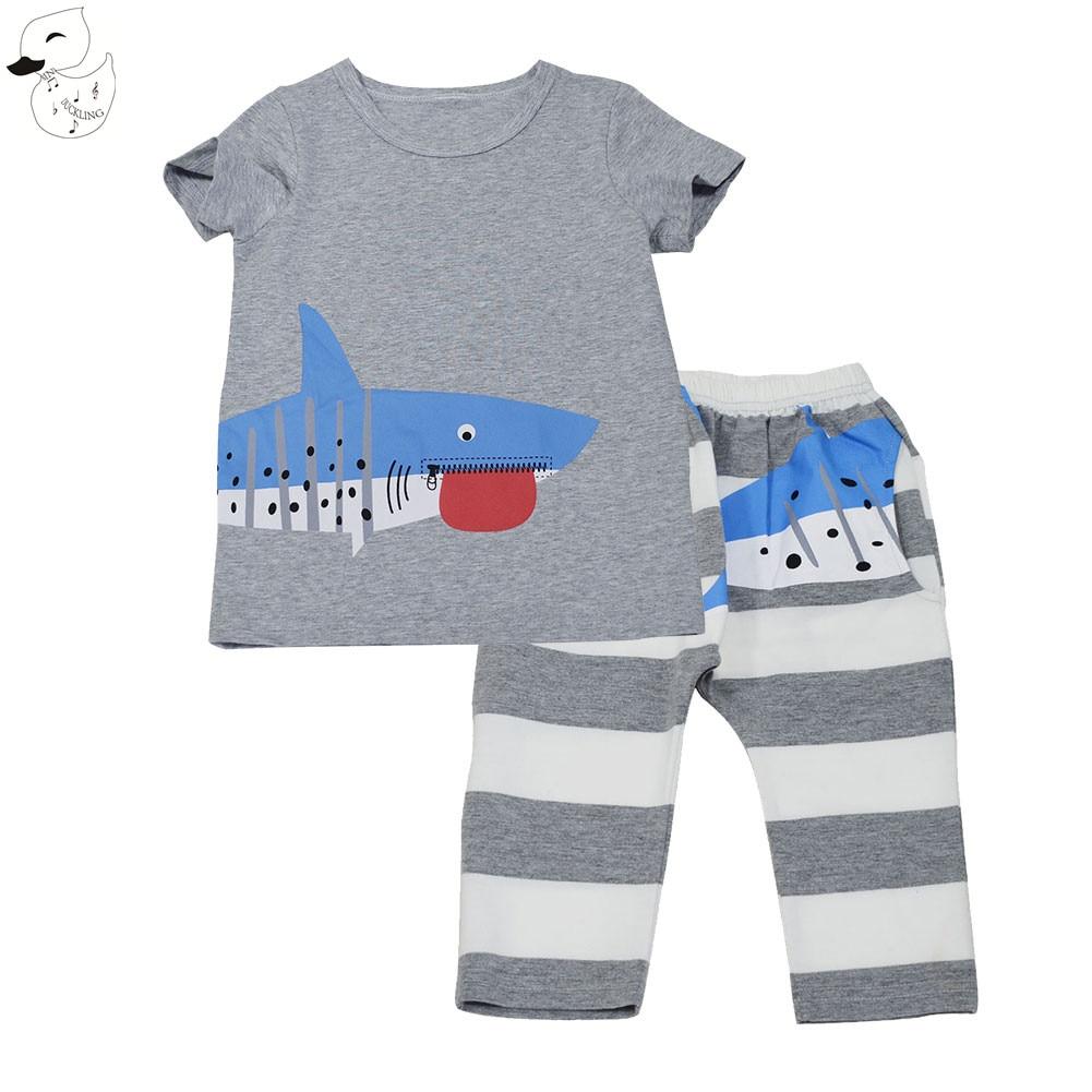 BINIDUCKLING 2017 Baby Boys Sets Summer Boys Sets Clothes T shirt+short Pants Striped Cotton Sports Printed Set Children Suit