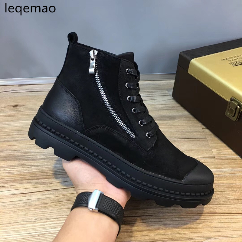 Hot Sale New Fashion Winter Man Martin boots Warm Shoes Fur Inside Men High-Top Genuine Leather Luxury Brand Snow Boots 38-44 hot sale men basic black winter warm fur shoes high top nuduck genuine leather luxury brand ankle snow boots flats size 38 44