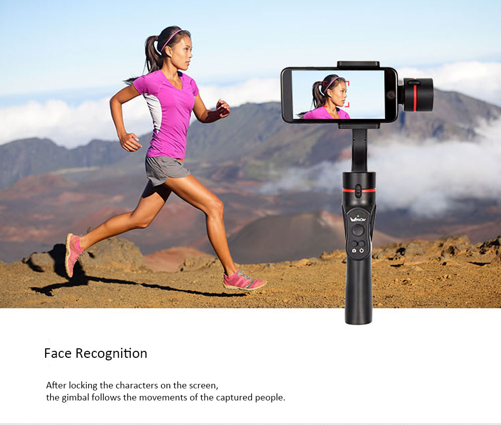 Wewow A5 3-Axis Handheld Gimbal Tripod Holder Video Stabilizer Face Recognition For 4-5.5 Inch Smartphone Wireless Action Camera