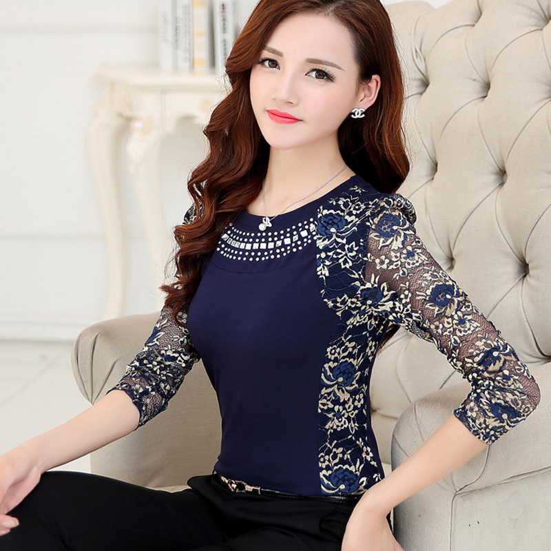 2015 Autum Winter Women's lace   blouse     shirts   plus size ladies long sleeve slim Lace Cotton patchwork Tops for women 160F 20
