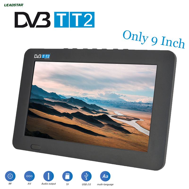 Prix pour Leadstar télévision hdtv 9 pouce numérique et analogique tv et tf carte Et USB Audio Et Vidéo Lecture Portable DVB-T2 ET AC3