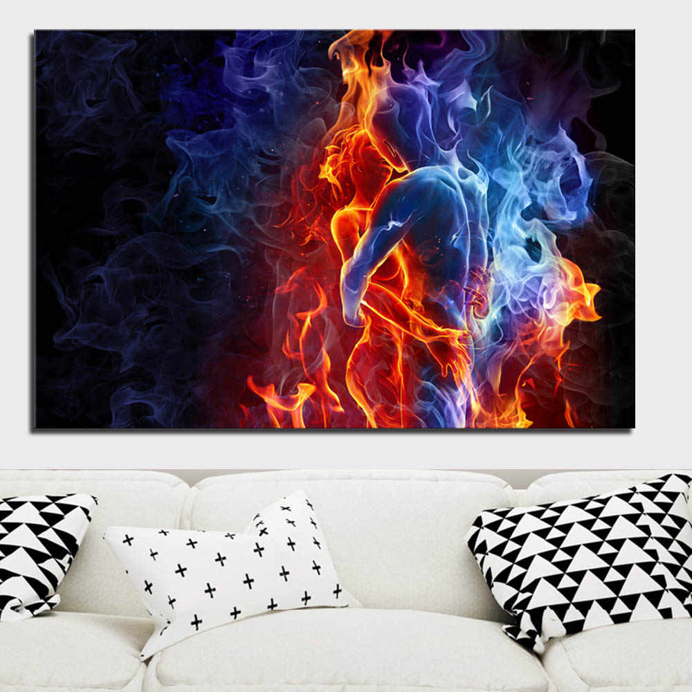 Romantic Blue Red Kissing Lover Canvas Print Painting Modern Abstract Figure Wall Art Picture Home Decorative Prints and Posters