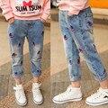 Primavera y otoño pantalones de los niños, chica jeans rasgados para niñas niños pantalones vaqueros rasgados pantalones vaqueros de moda para adolescentes chica denim jeans