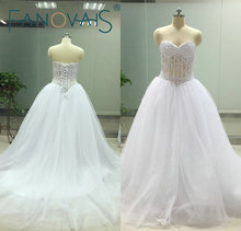 ASA Real Photos Pearls Beaded Sweetheart Off the Shoulder Court Train Wedding Dresses Lace-up Back Tulle Bridal Gown