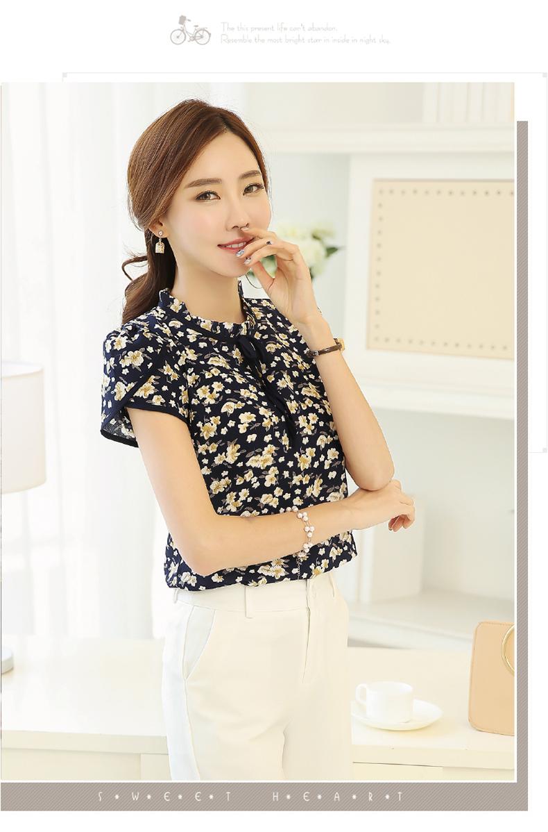 HTB1nVuBPVXXXXXRXVXXq6xXFXXXX - Summer Floral Print Chiffon Blouse Ruffled Collar Bow Neck Shirt