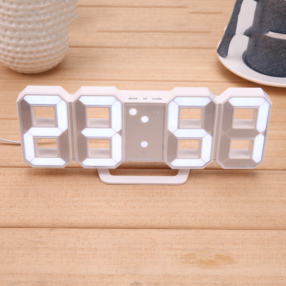 8 Shaped USB Digital Table Clocks Wall Clock LED Display Creative Watches 24&12-Hour Display Home Decoration Christmas Gift
