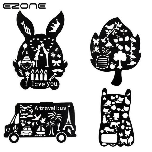 EZONE Creative Children Drawing Template Ruler Cartoon Hollow Rabbit ...