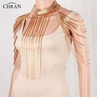CHRAN Elegant Gold Full Metal Body Soulder Chain Jewelry Tassels Necklace Waist Bikini Harness Dress Decor