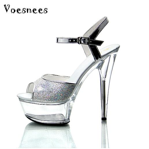 2019 New Nightclub Sexy Stage Show Shoes 15cm High-heeled Sandals Silver Sequins Wedding Shoes Plus Size 34-43