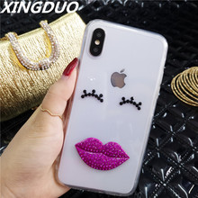 XINGDUO phone case for iphone XR XS X cute sexy Lips Jewelled Transparent Soft Back shell MAX 7 6 8 6S cover
