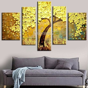 Hand Painted Modern Yellow Gustav Klimt Tree Of Life Abstract Oil Painting On Canvas Picture 5 Panel Wall Art Home Decoration