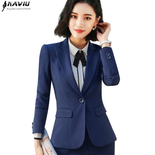 2018 Spring new Business blazer plus size fashion office formal female long  sleeve jacket work wear slim Interview outerwear 88585306324a