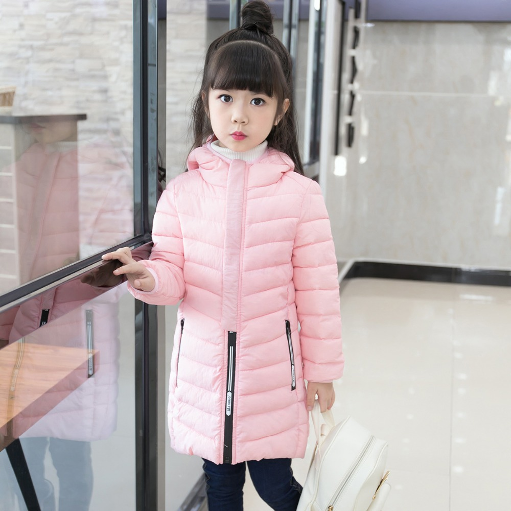 JKP 2018 Winter children's hooded cotton clothing in the big children's long coat boys and girls Slim coat tide Parkas MF-318 slim fit ruffle long sleeved hooded quilted coat for women