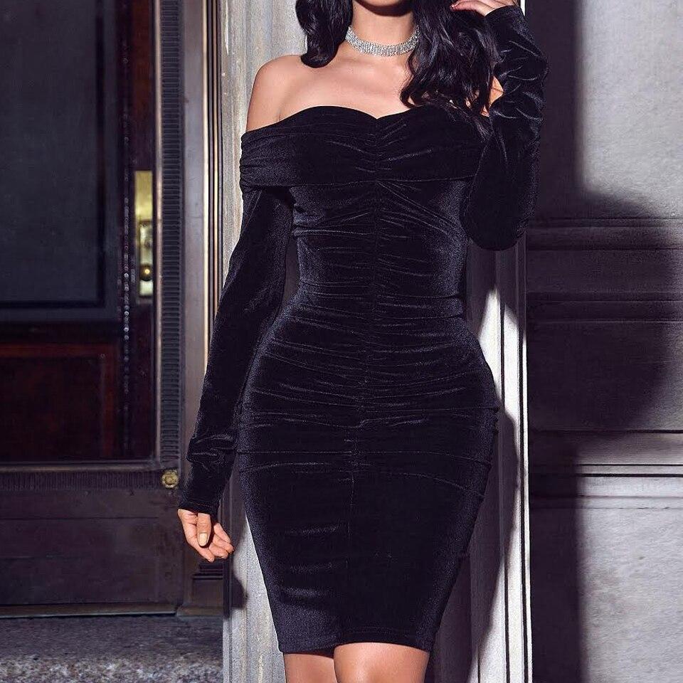 Image 2 - Karlofea New Spring Midi Dress Solid Black Elegant Casual Off Shoulder Velvet Dress Sexy Club Long Sleeve Bodycon Party Dressmidi dressvelvet dressbodycon party dress -