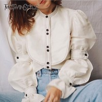 TWOTWINSTYLE Puff Sleeve Shirt Blouse Female Long Sleeve Lace up White Shirt Tops Women Casual Vintage Clothes 2018 Autumn New